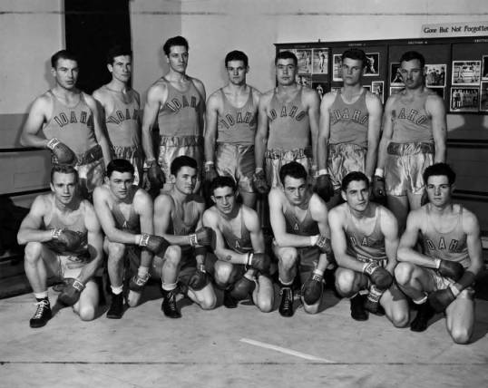 University of Idaho 1950 boxing squad - L-r: (front) Herb Carlson, Norm Walker, DeForest Tovey, Frank Echevarria, Len Walker, Bud Lawson, Frank Gillette. (back) Ted Diehl, Thane Johnson, Larry Hanson, Vern Bahr, Don Ellis, Mervin Pierce, Doyle Haskins. [Date: 1950]