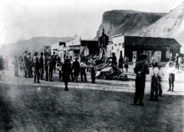 Image of Hanging the Kaiser in effigy. Challis, Idaho.
