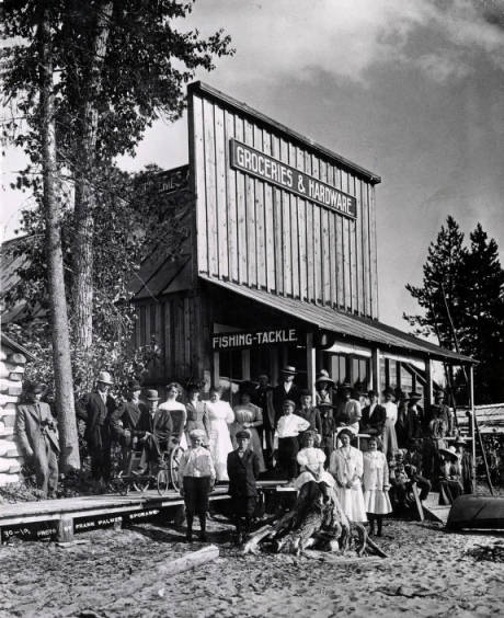 Image of Group in front of the Coolin Grocery and Hardware Store, Coolin Idaho.