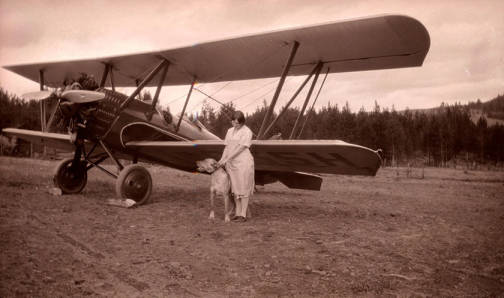Image of Golda Stonebraker with Zenith airplane [01]